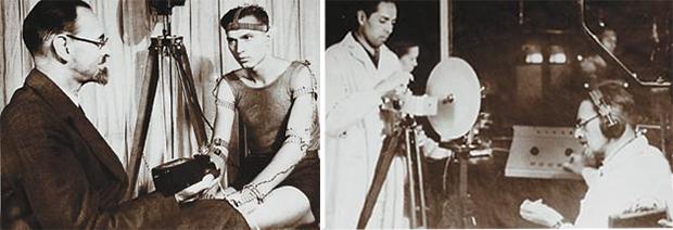 Н. А. Бернштейн во время эксперимента в своей лаборатории